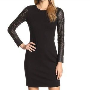 Kenneth Cole Lace / Leather Black Dress LBD